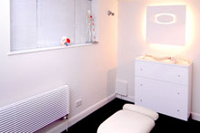 The Osteopath clinic includes a fully equipped treatment room.